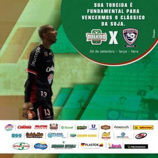 CL�SSICO DA SOJA � Toledo recebe hoje � noite Cascavel na Arena Alcides Pan