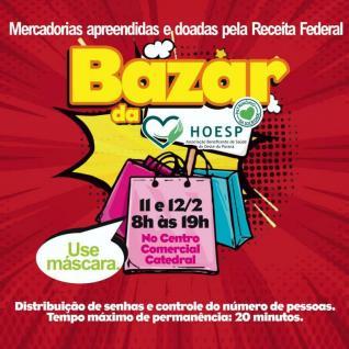 Bazar da HOESP/Hospital Bom Jesus com itens da Receita Federal acontece na próxima semana