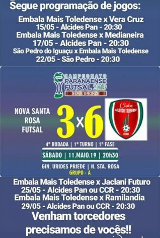 Toledense Futsal joga hoje à noite, às 20h30, contra  Vera Cruz do Oeste no Alcides Pan